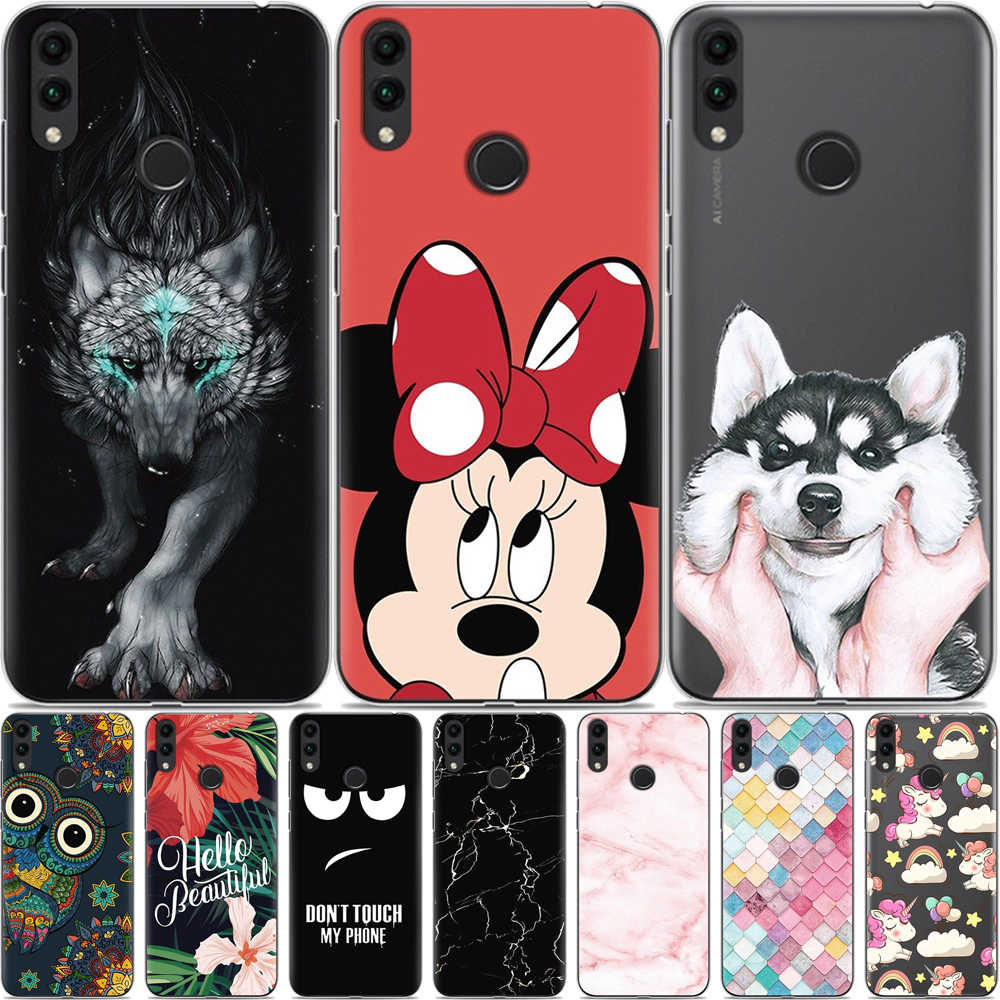 "For Huawei Honor 8C Case BKK-L21 Soft Silicone TPU Cartoon Cover For Huawei Honor 8C Phone Cover Honor8C 8 C BKK L21 6.26"" Coque"