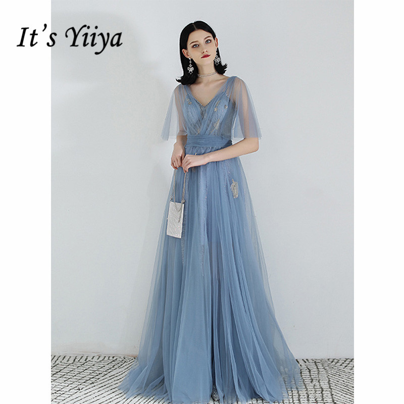 It's Yiiya Evening Dress 2019 Short Sleeve V-Neck Elegant Lace Up A-Line Dresses Embroidery Women Party Long Formal Dress E1055