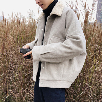 Winter Short Woolen Coat Men Warm Fashion Overcoat Solid Color Casual Woolen Jacket Man Loose Cotton Jacket Male Clothes M-2XL
