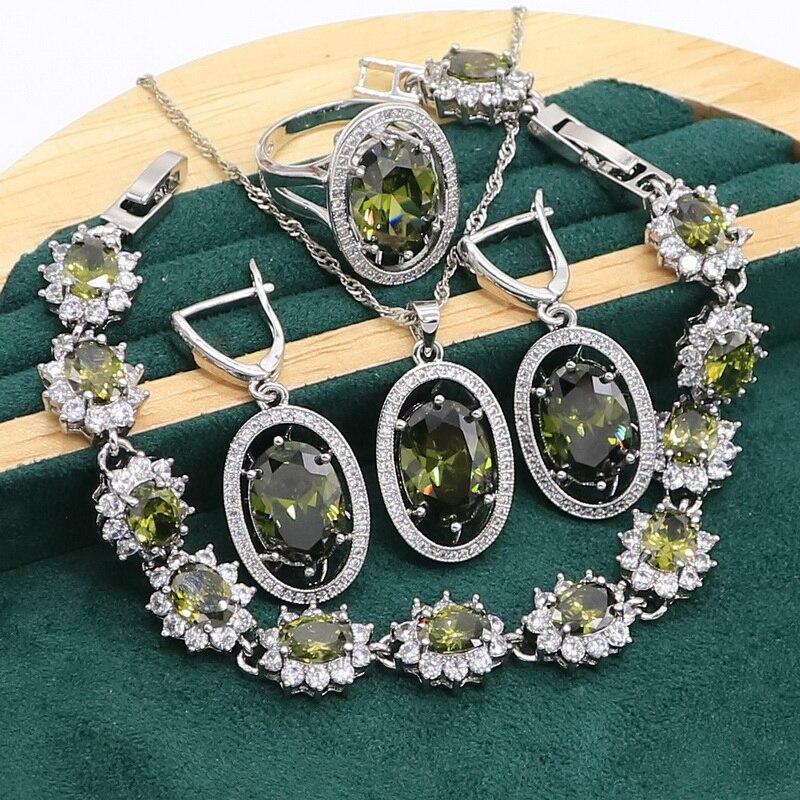 Green Peridot 925 Sterling Silver Jewelry set for Women Bracelet Earrings Necklace pendant Ring Birthday Gift