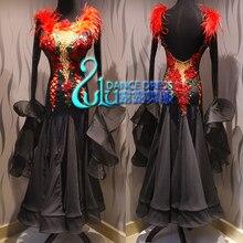 Robe de concours de danse américaine pour femmes, robe de danse, style tango waltz, lisse, noire, dégradé, salle de bal