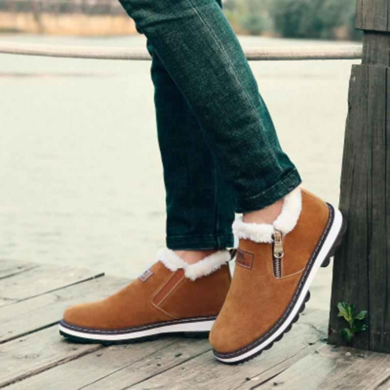 Sıcak pamuk çizmeler artı boyutu kadife sonbahar kış çizmeler erkekler fermuar rahat ayakkabılar botas vahşi metal marka pamuklu ayakkabılar erkek botları