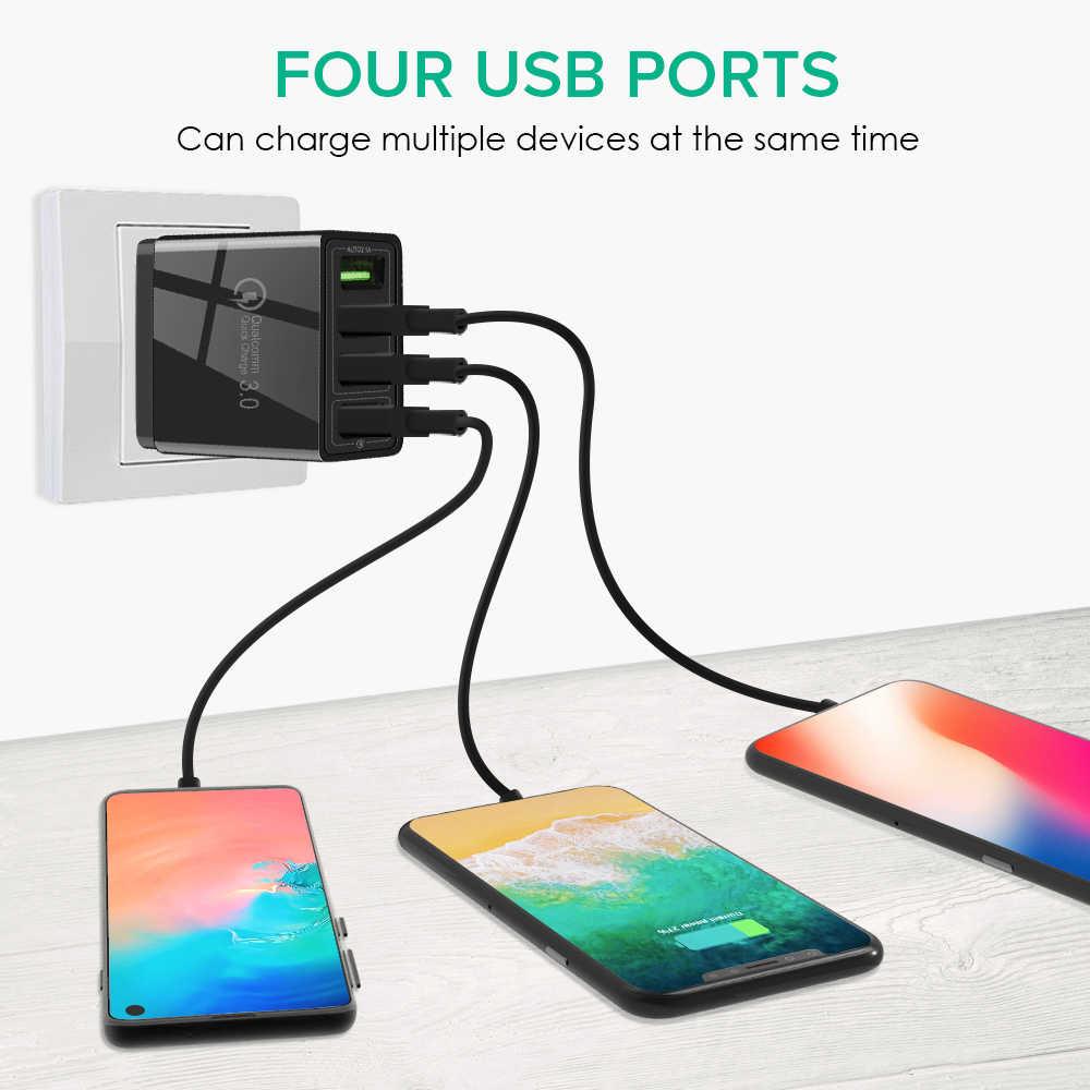 GOOJODOQ 3.1A 急速充電 3.0 USB 壁の充電器 4 ポート急速充電器 QC3.0 サムスン Xiaomi iPhone Huawei 社の携帯電話充電器