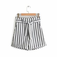 Women's Striped Shorts Autumn New Belted Suit Shorts o ring detail self belted shorts