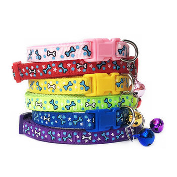 6 Colors Bone Printed Pet Collar with Bell Basic Adjustable Neck Strap Dog Leash Safety Dog Cat Collar Pet Supplies Accessories image
