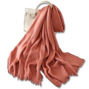 Image 5 - 2020 hidżab gorąca sprzedaży nowe zimowe ocieplenie pogrubienie czysty kaszmirowy szalik kobiet szal chustka Cachecol kobiety szaliki Pashmina