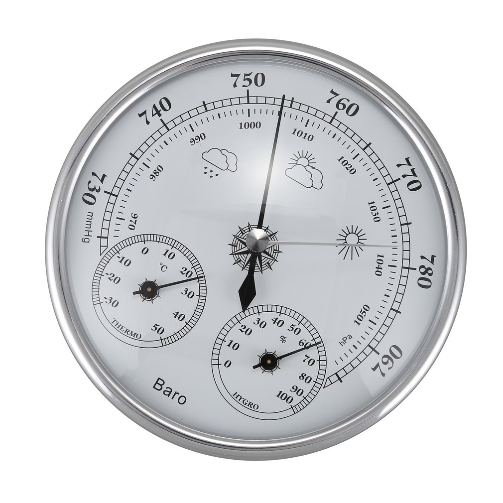 3-in-1 Wall Mounted Household Thermometer Hygrometer High Accuracy Pressure Gauge Air Weather Instrument Barometers Dial Plastic