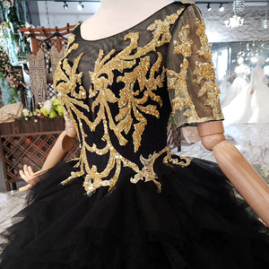 Image 5 - BGW 3222ht Black Evening Dress Long For Women O neck V back Golden Lace Cake Style Formal Dress With Detachable Train 2020