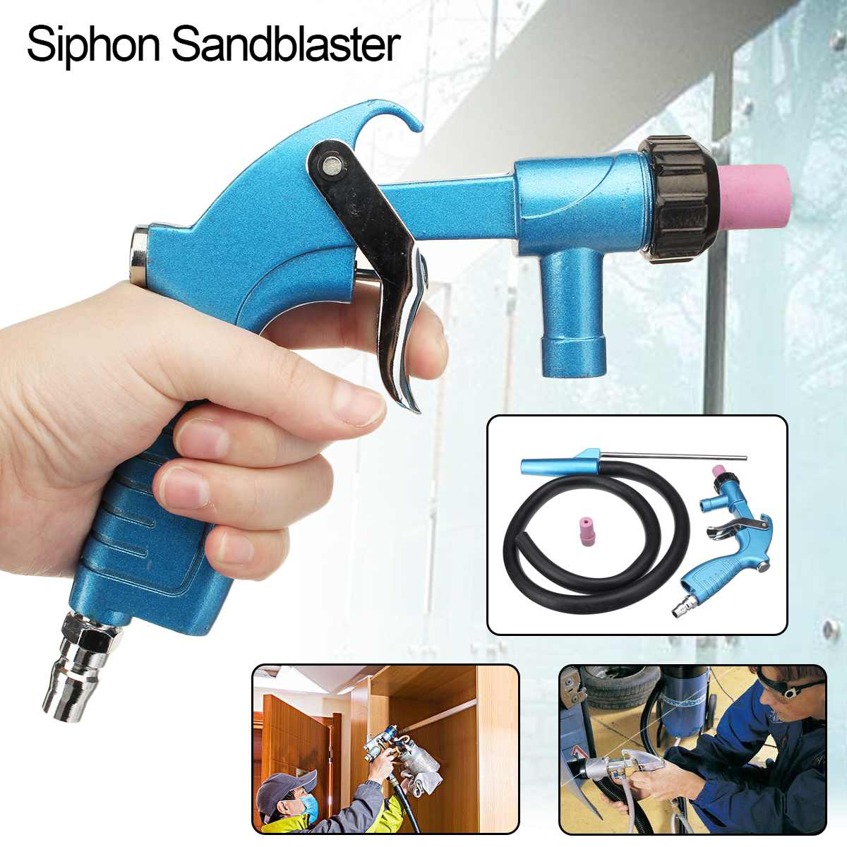 Sandblaster Air Siphon Feed Blasting Power Tool Kit Abrasive Tool Sprayer With Ceramic Nozzle Tips Sand Suction Pipe