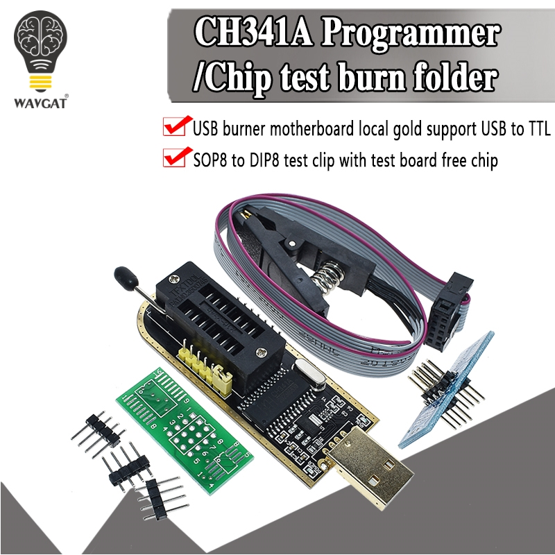 Official CH341A 24 25 Series EEPROM Flash BIOS USB Programmer Module CH341 For SOIC8 SOP8 Test Clip For EEPROM 93CXX 25CXX 24CXX