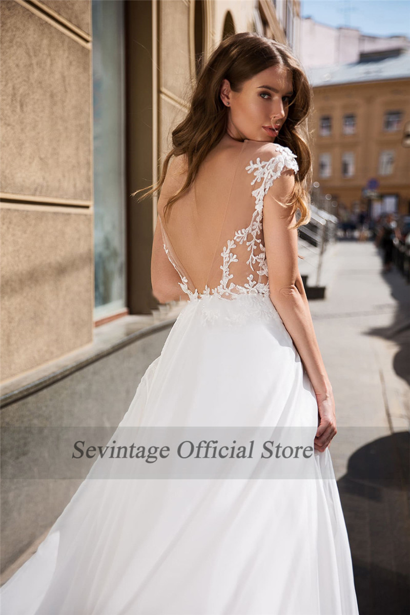 Sevintage Chiffon Beach Wedding Dresses Boho Cap Sleeves Sheer Scoop Lace Bridal Gowns Slit Side Backless Vestido De Noiva