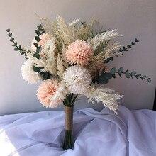 Buquê de noiva rosas artificiais buquê de casamento para damas de honra noiva flores de casamento buquê de noiva acessórios de casamento