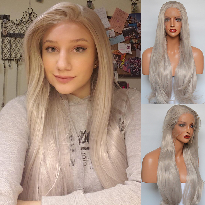 Fantasy Beauty Silver Lace Front Wig Grey Synthetic Natural Straight Hair Replacement Wigs for Women Glueless Cap Heat Resistant