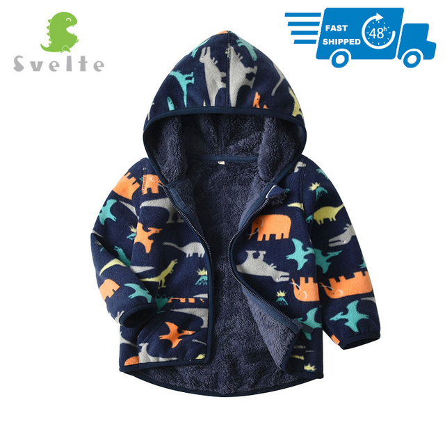 SVELTE for 2 7 Yrs Kid and Toddler Boy Lining Fur Fleece Hoodies Jackets Fluffy Sweatshirts Boy Clothes Printed Coats for Winter