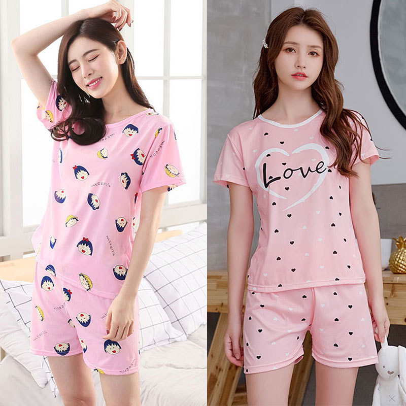 New Style Summer Pajamas WOMEN'S Short Sleeved Mimi Bear Tracksuit Heart Joint SP Circle Lettered Smiley