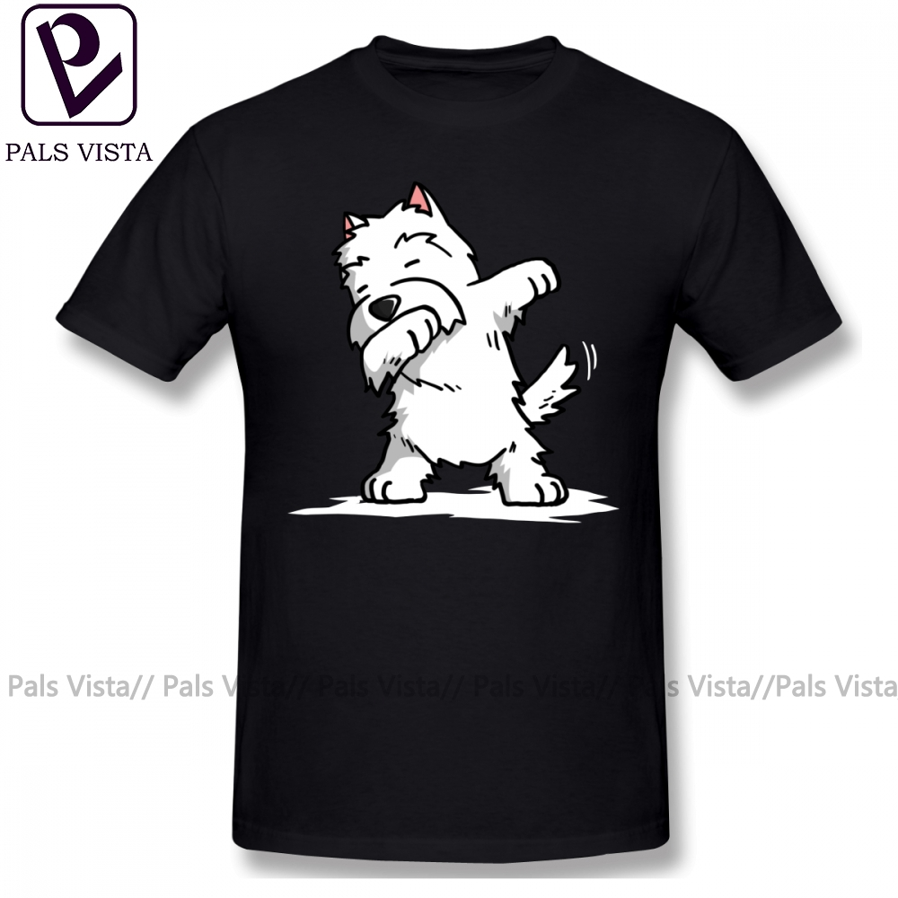 Westie T Shirt Funny Dabbing West Highland White Terrier Dog T-Shirt Male Short Sleeves Tee Shirt Beach Fun Plus Size Tshirt