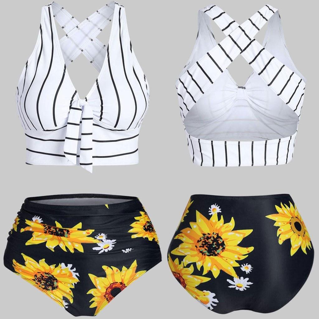 Newest Bikini 2020 Women Push-Up Padded Overlay Print Flounce Crisscross Tankini Bathing Suit Ladies Swimwear Beach Swimsuit 2