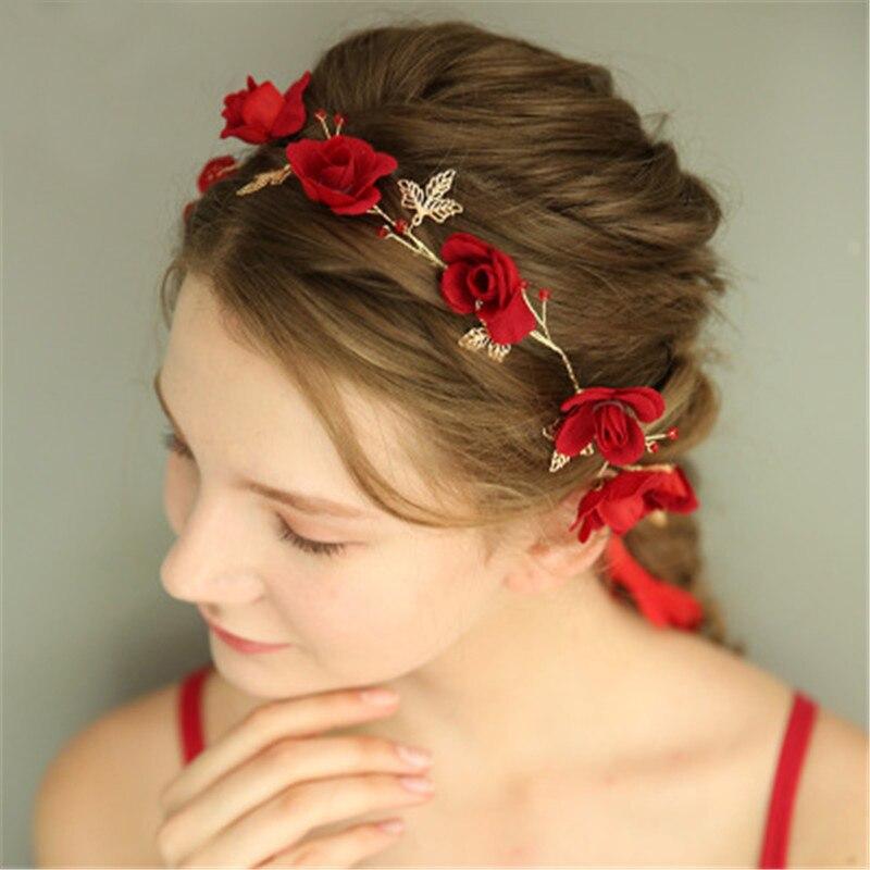 Hot Red Garland Hairhoop Women's Wedding Accessories For Bride Handmade Bridal Party Jewelry Headdress Hairpieces Girls Headband