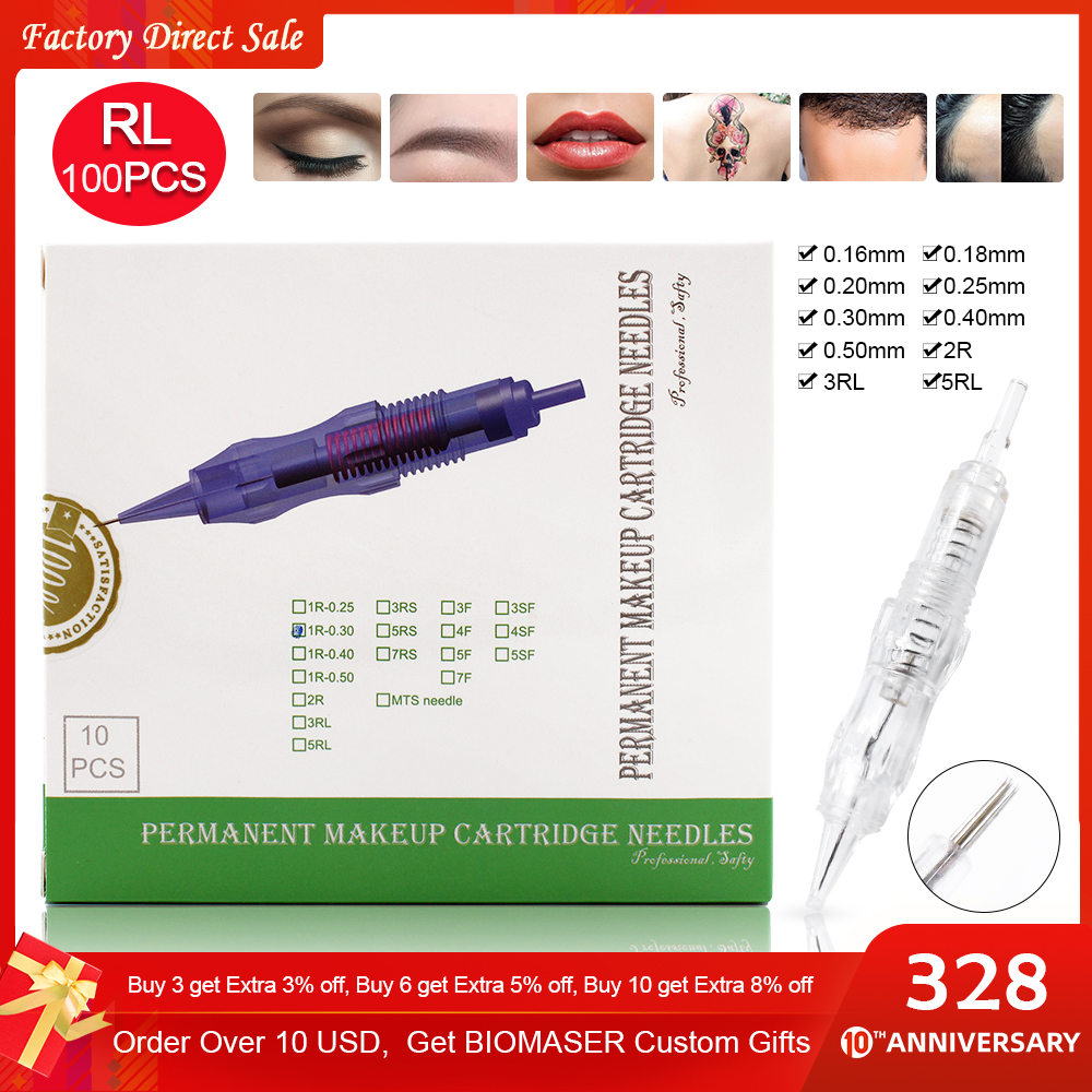Biomaser 100PCS Revolution Tattoo Needles Permanent Makeup Catridges For Tattoo Machine Kit Eyebrow Needle 1R,2R,3RL,5RL 7RL