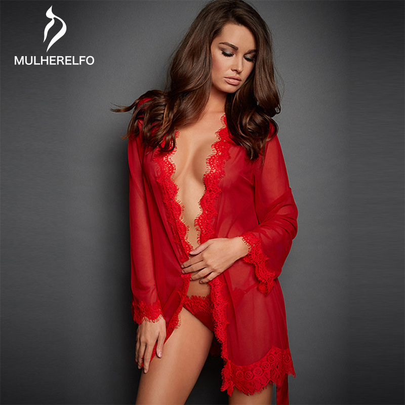 Sexy Deep V Lace Sheer Dressing Gowns For Women Long Sleeve Sashes Ladies Sleepwear Plus Size Home Women Night Gown Bathrobes