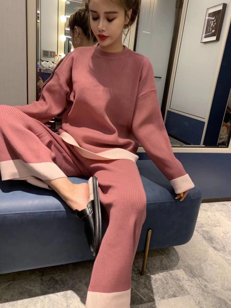 Knitted 2 Piece Set 2019 New Fashion O-neck Casual Loose Knitted Sweater Top High Waist Wide Leg Pants Women Set Plus Size