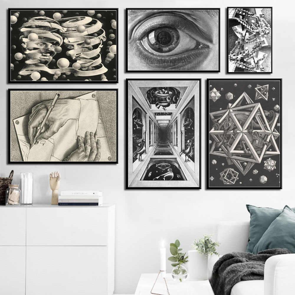 G211 アート装飾エッシャーシュール幾何学的抽象アートワーク現代アートウォールアートキャンバス絵画シルクのポスター 絵画 書道 Gooum