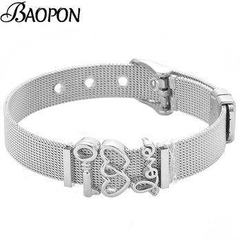 Reloj de malla de acero inoxidable plateado de moda pulseras con forma de correa para mujer amor llave encanto amistad pulsera brazalete joyería regalo