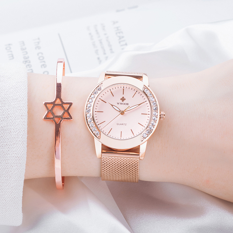 WWOOR 2021 New Top Brand Causal Women Fashion Pink Dial Watch Luxury Diamonds Quartz Rose Gold Waterproof Wristwatch Reloj Mujer