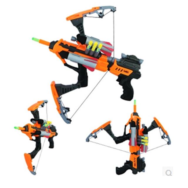 Kids Toy air soft Gun Noctilucent Bow Crossbow Deformation Firing Soft Bullet Gun toys for children FJ805 paintball air gun