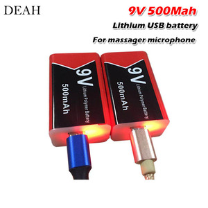 9V 500mAh usb lipo lithium rechargeable battery for Multimeter Microphone Remote Control massager ktv use 9v usb battery(China)