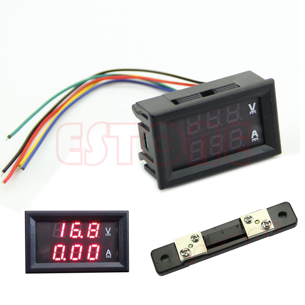 <font><b>Dual</b></font> <font><b>Digital</b></font> Voltmeter Ammeter Red <font><b>LED</b></font> Amp Volt Meter <font><b>DC</b></font> <font><b>100V</b></font> <font><b>50A</b></font> +Current Shunt image