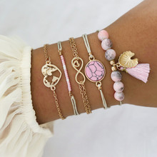 VAGZEB 5pcs/set Bohemian Pink Stone Bracelet Set for Women Vintage Rope Tassel Heart Map Female Jewelry