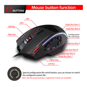 Image 4 - Zelotes C 13 Wired Gaming Mouse 13 Programming Keys Adjustable 10000DPI RGB Light Belt Built in Counterweight Mechanism mouse