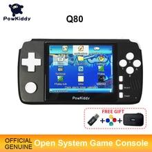 "Powkiddy q80 레트로 비디오 게임 콘솔 핸드셋 3.5 ""IPS 스크린 내장 4000 게임 오픈 시스템 PS1 시뮬레이터 48G 메모리 새로운 게임"