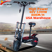 Free Shipping Electric Scooter 3200W Double Drive Folding 11inch Off Road Tire Electric Hoverboard Long skateboard t 60V 80KM/H