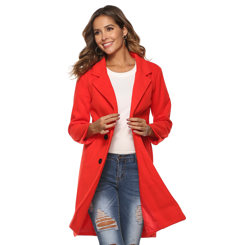 Hd850f96dd0274773a72178c8fd6a392dP 2018 New Women Long Sleeve Turn-Down Collar Outwear Jacket Wool Blend Coat Casual Autumn Winter Elegant Overcoat Loose Plus Size