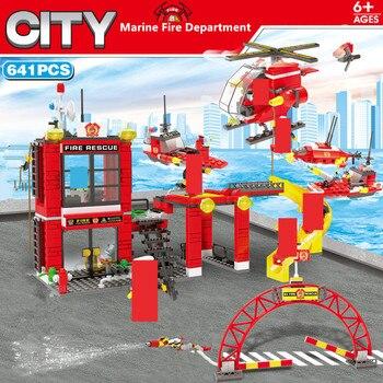 641 piezas SMFF lucha contra incendios submarino helicóptero patrulla barco construcción bloques juegos LegoINGLs ciudad bombero juguetes regalos de navidad