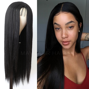 Image 1 - Maycaur Long Straight Black/Pink Synthetic Hair Wigs With Natural Hairline Heat Resistant Straight Wigs for Women