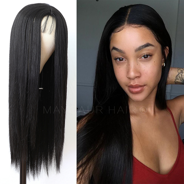 Maycaur Long Straight Black/Pink Synthetic Hair Wigs With Natural Hairline Heat Resistant Straight Wigs for Women