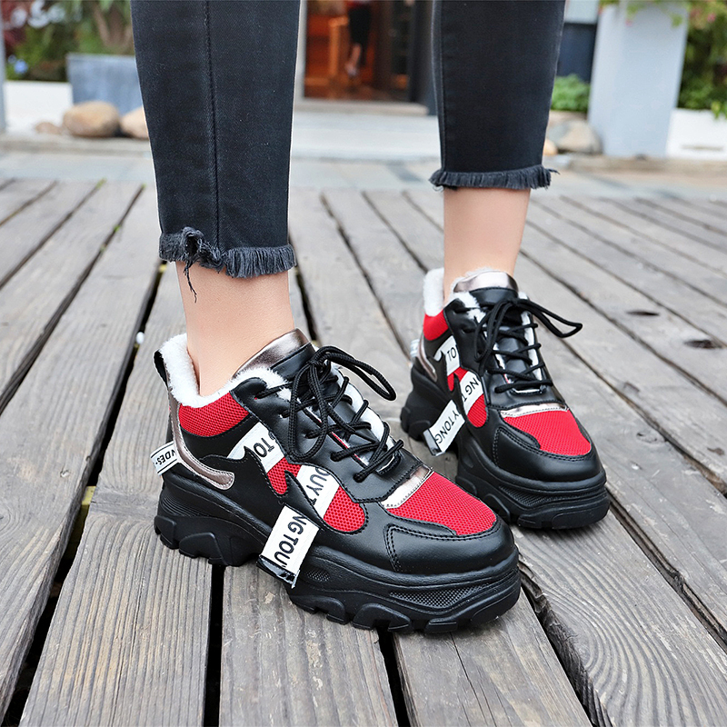 Winter Women Casual Shoes Dad Chunky Sneakers Luxury Shoes Women Designers Plush Zapatillas Mujer Scarpe Donna Dropshiping Tenis