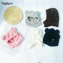 Hepburn Brand wool Cotton Cartoon bear sleeve head cap winter warm childrens Hat for boy girl Bonnet Skullies beanies hat