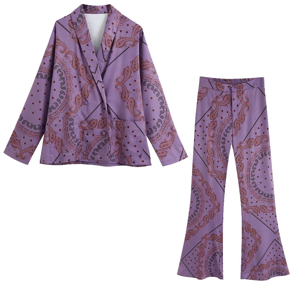 2020 NEW Summer Women 2 pieces Set purple print long Sleeve shirt blouse long pants Suit female casual woman clothes