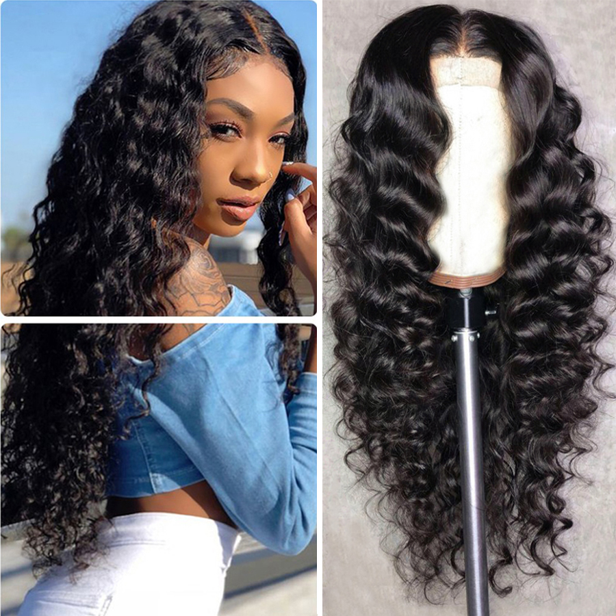 Deep Wave Human Hair Wigs Lace Front Wig 13x5 Human Hair Wigs For Women Brazilian Remy Hair Lace Human Hair Wig PrePlucked