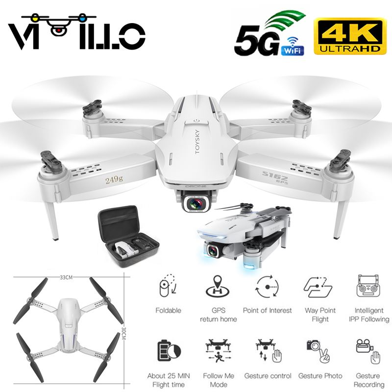 NEW GPS Drone S162 4K 1080P HD Camera 5G WIFI FPV Foldable Quadcopter One-Key Return RC Distance 500 Meters Long Battery Life