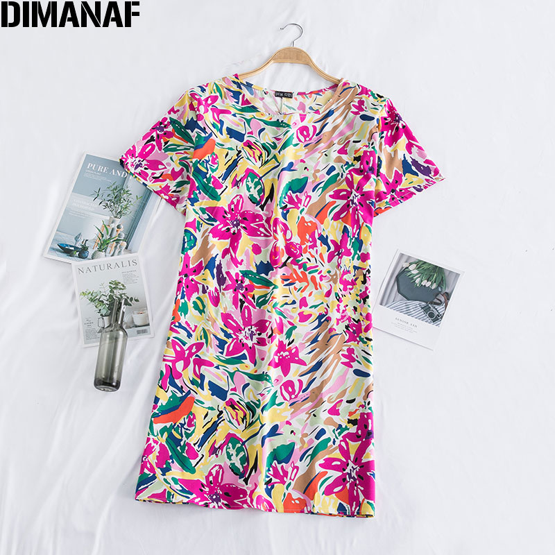 DIMANAF Summer Sundress Women Shirt Dress Lady Vestidos Beach Style Print Floral Cotton Casual Loose Plus Size Clothing 2020 New