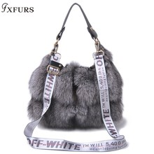 FXFURS 2019 New Real Fox Fur Bags Women Message Single Shoulder Crossbody Bags Silver Fox Fur Large Lady Clutch Bag etersto 2017 new arrival women real mink fur handbag luxry real fur bag flap bags ladies crossbody bags female bags for lady