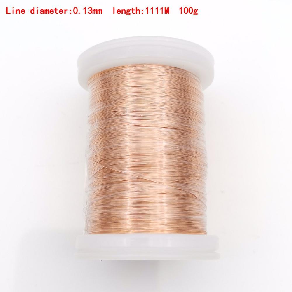 Купить с кэшбэком 0.1mm 0.16mm 0.25mm 0.4mm 0.8mm 1.3mm copper wire Magnet Wire Enameled Copper Winding wire Weight 100g