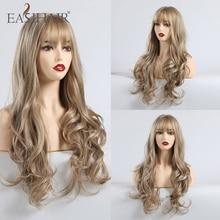 EASIHAIR Lange Wellenförmige Perücken Braun Blond Synthetische Perücken Für Schwarze Frauen African American Cosplay Perücken Hitze Beständig Falsche Haar