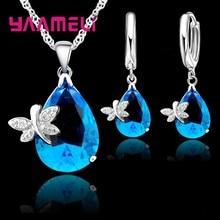 Real puro 925 conjuntos de jóias de prata esterlina cristal austríaco libélula gota de água cz pingente colar leverback hoop brincos