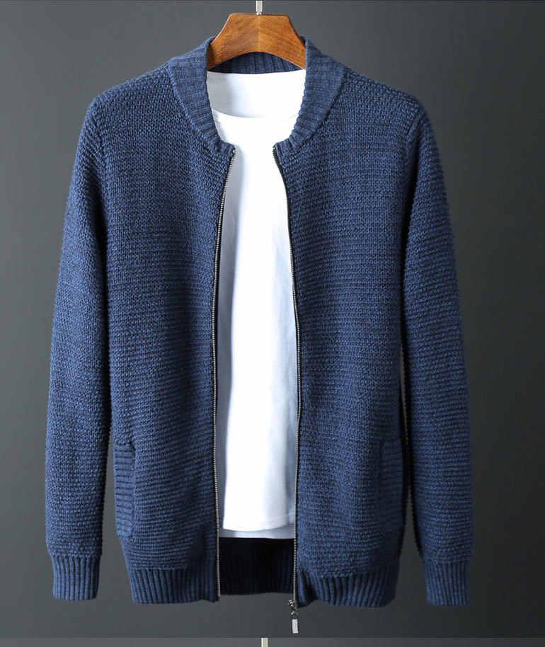 Stand Kraag Mannen Luxe 1010% Katoen Rits Winter Effen Kleur Slim Fit Trui Man Plus Size 6XL